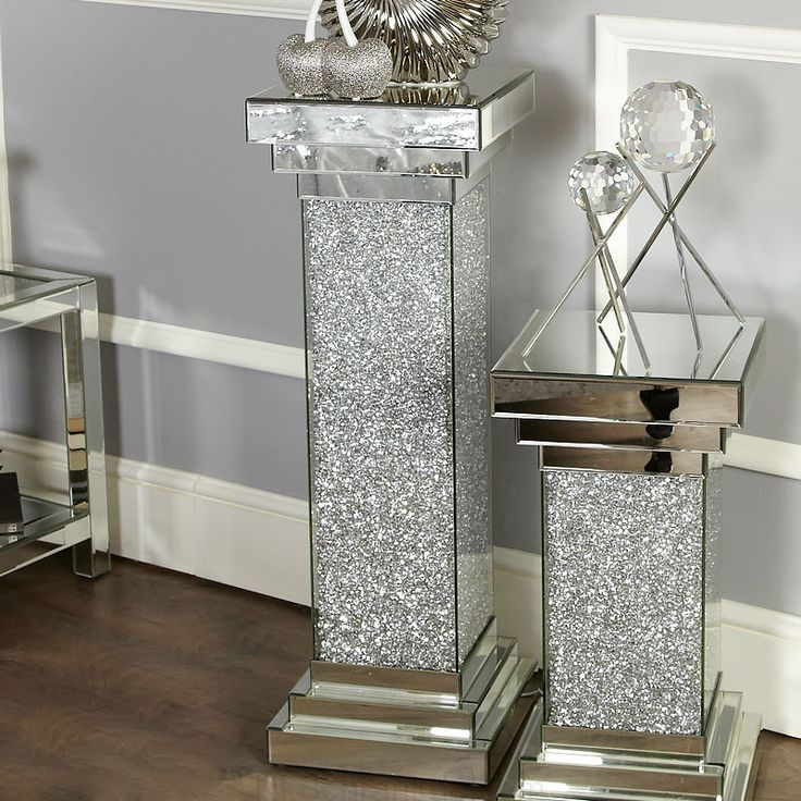 Finley Mirrored Large Pillar Lamp Table Vase Table End