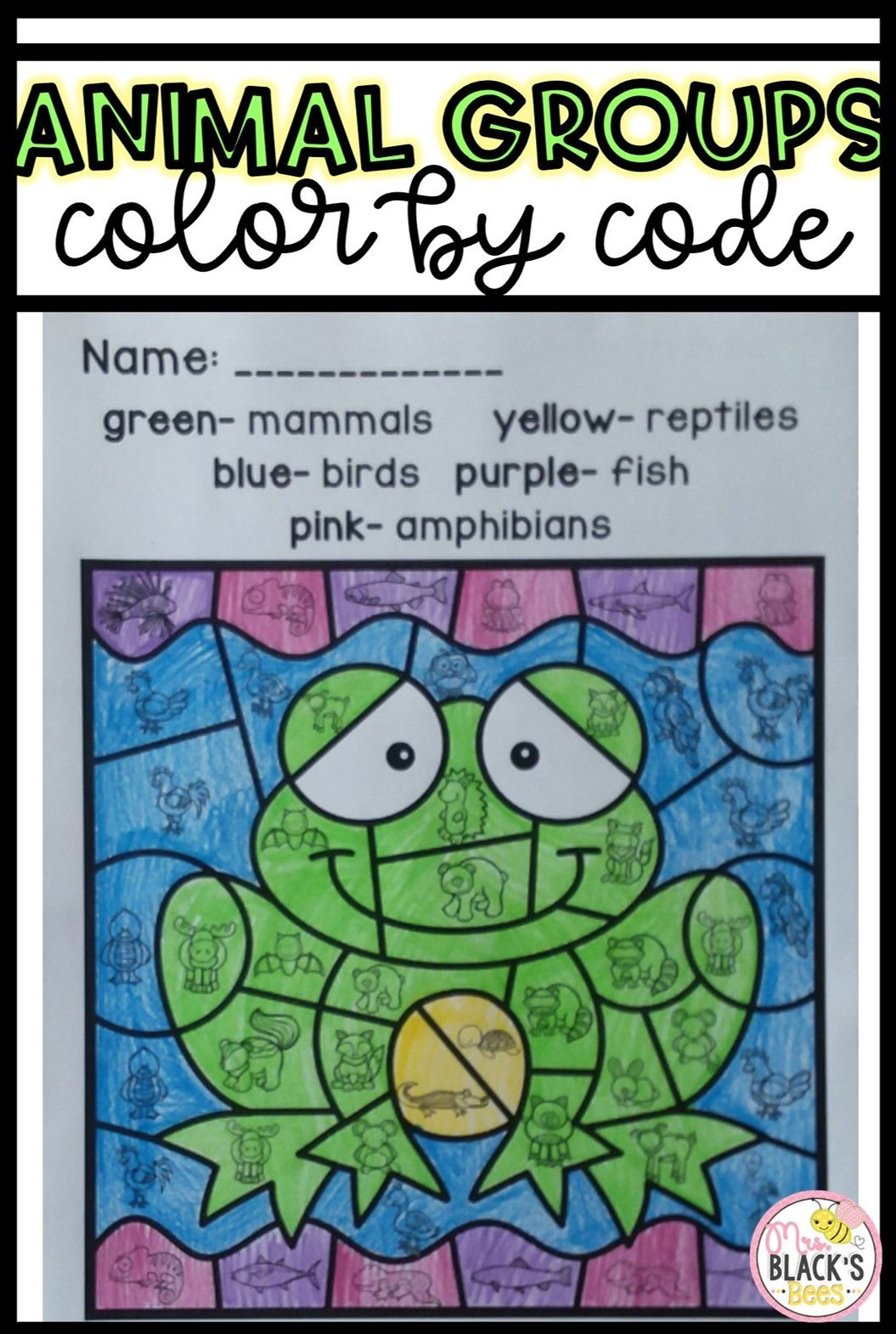 Animal Groups Color By Code