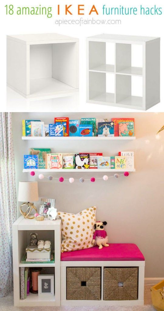 Gorgeous DIY custom furniture with 18 easy IKEA hacks: creative dressers, farmhouse cabinets, bedroom benches, craft room tables, desk, kitchen island, etc! - A Piece of Rainbow #ikea #ikeahack #kitchen #kitchenideas #diy #furniture #woodworkingprojects #woodworkingplans #kitchenisland #homedecor #bedroomideas #bedroom #farmhouse #storage #organizing #organization #organize storage, organizing, organization, workshop