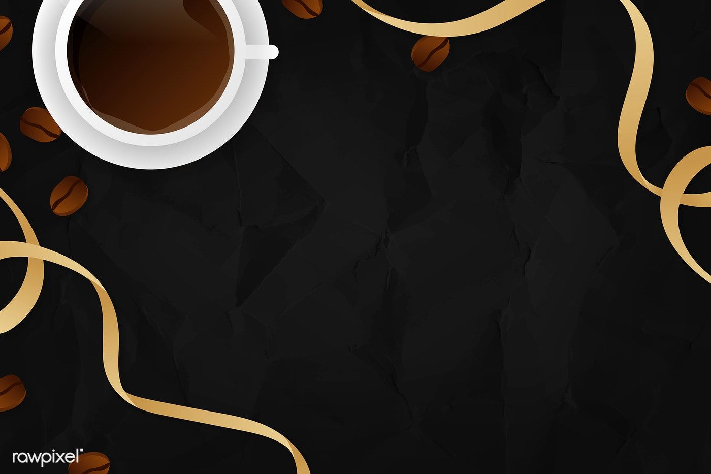 Download Premium Vector Of Coffee Cup Black Background Template Vector