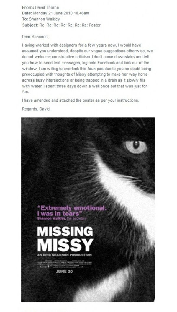 Graphic Designer Makes Hilarious Posters To Help Find Coworker S Missing Cat Photos Missing Missy Funny Emails Lost Cat Poster