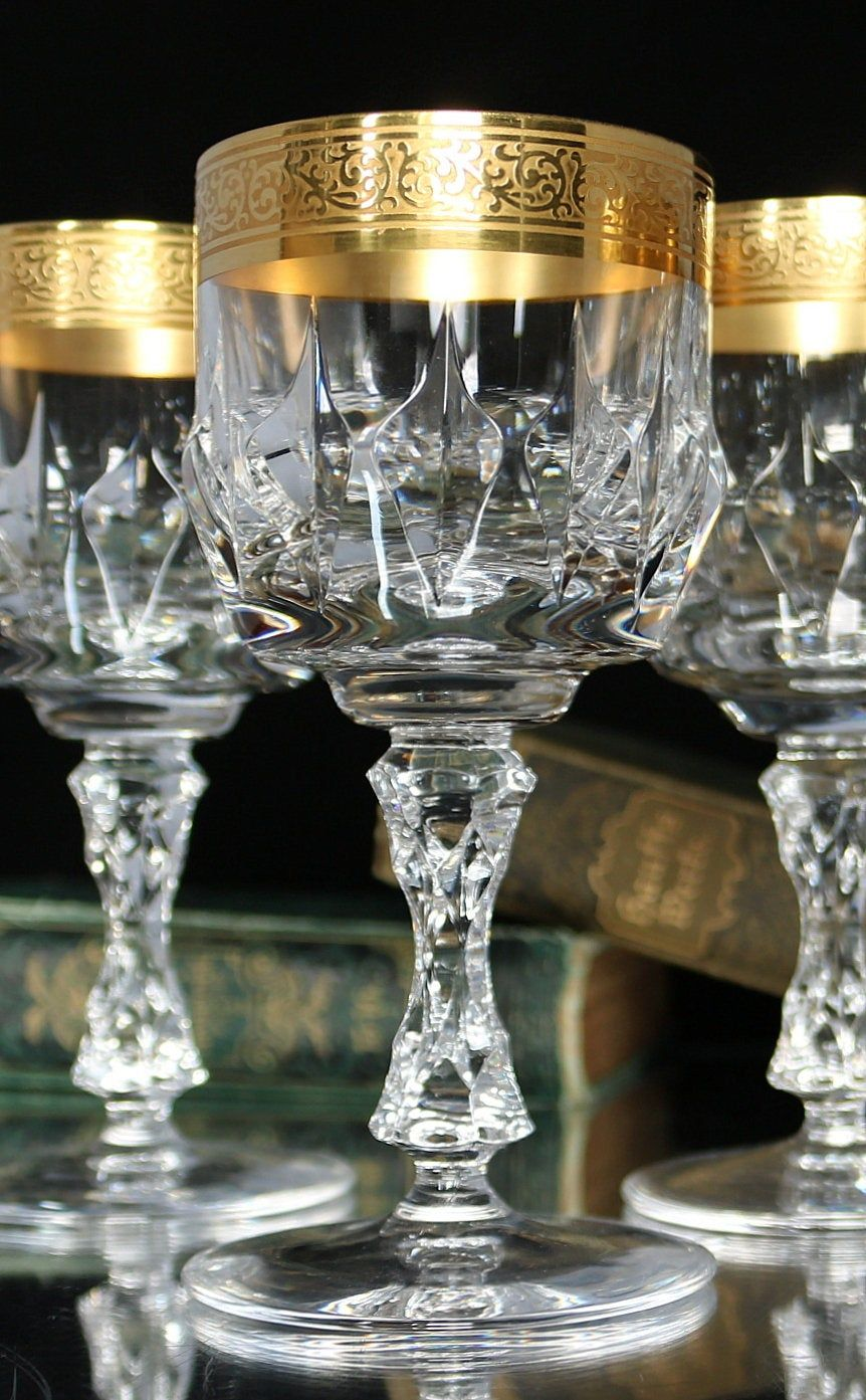 5x Crystal Wine Glasses With 24k Textured Gold Rim Wine Goblets Mid Century Bar Cart In 2020 Crystal Wine Glasses Crystal Stemware Wine Goblets