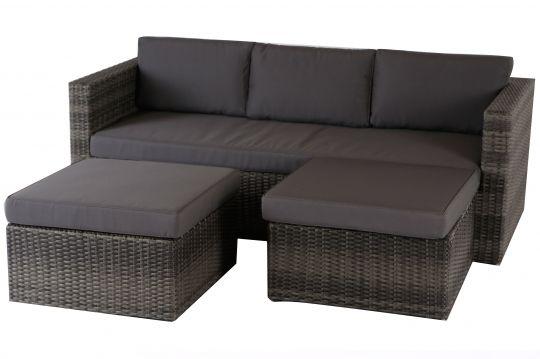 Villana Loungemöbel, anthrazit, Polyrattan, 5 Personen, inkl - garten loungemobel anthrazit