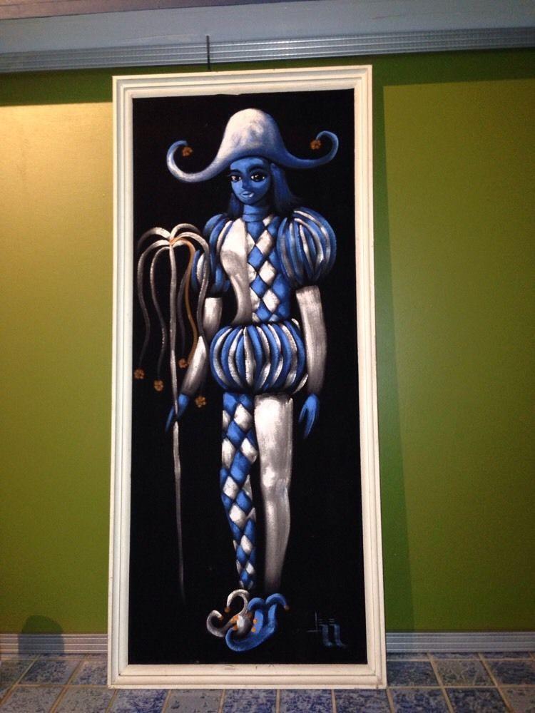 Goofy Large Vintage Harlequin Clown Black Velvet Painting | Black ...