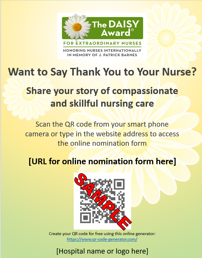 Sample Daisy Qr Code Poster Qr Code Poster Qr Code Nurse
