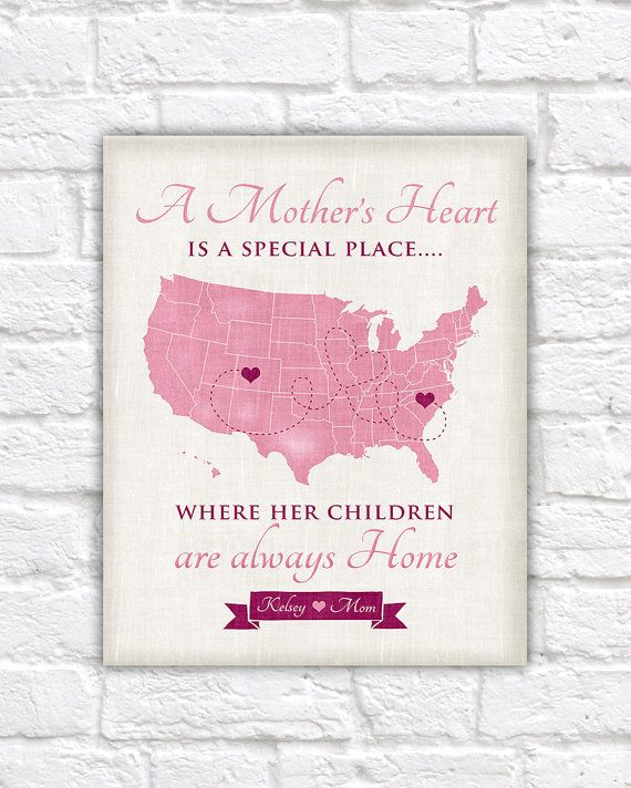 Valentines Gift For Mom Mother Daughter Quote Custom Map Thank