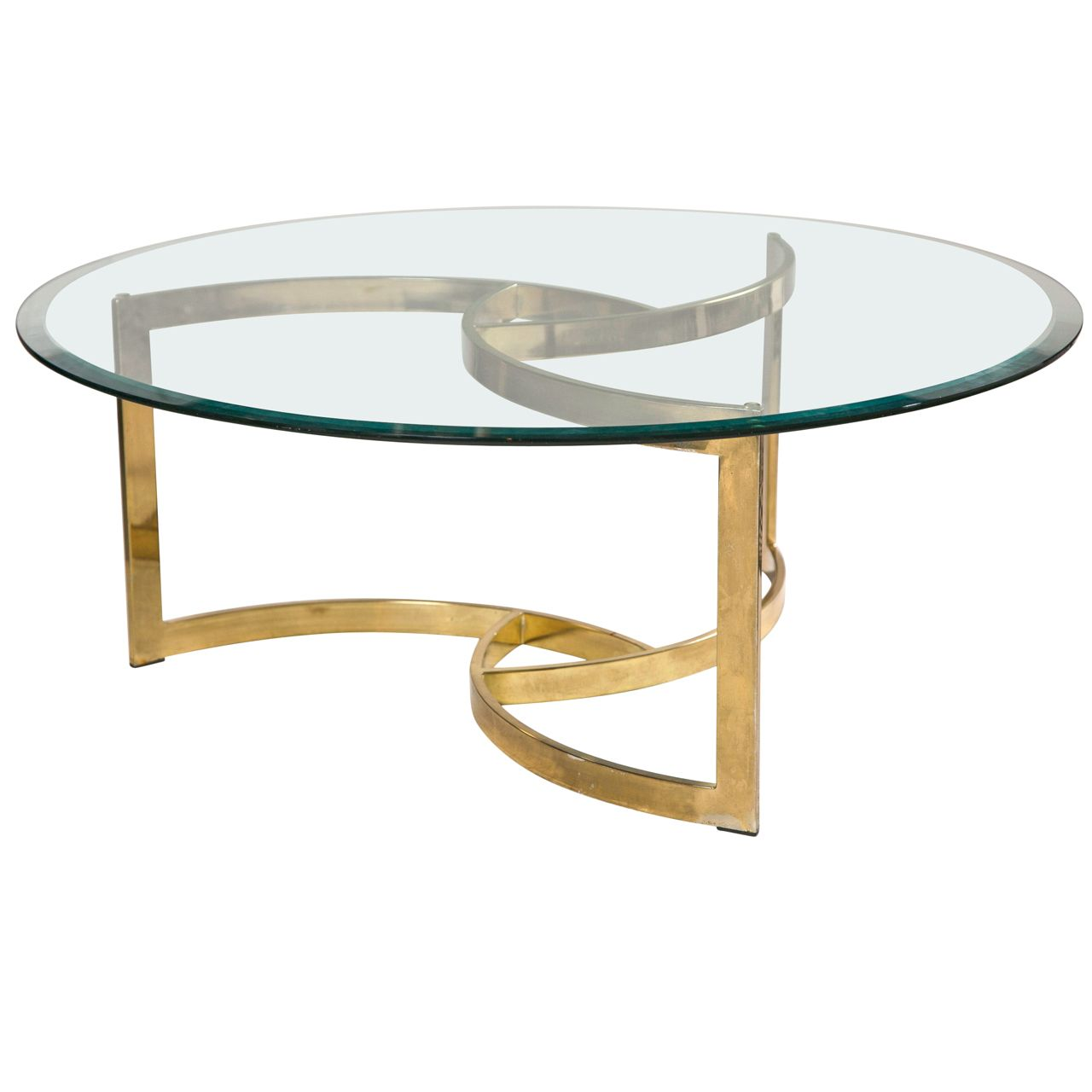 Mid Century Brass Swirl Base With Round Glass Top Coffee Table