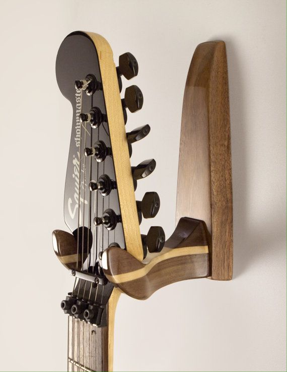 stylish high gloss walnut and maple guitar wall hanger on guitar wall hangers id=41300