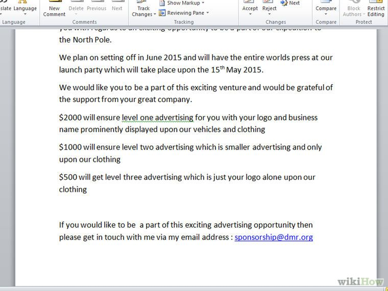 Write a Letter Requesting Sponsorship - example of sponsorship letter
