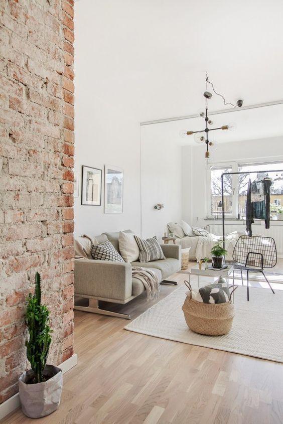 Modern bright living room Bright Orange Modern Bright Living Room With Exposed Brick Accent Wall Pinterest 54 Eyecatching Rooms With Exposed Brick Walls Home Pinterest