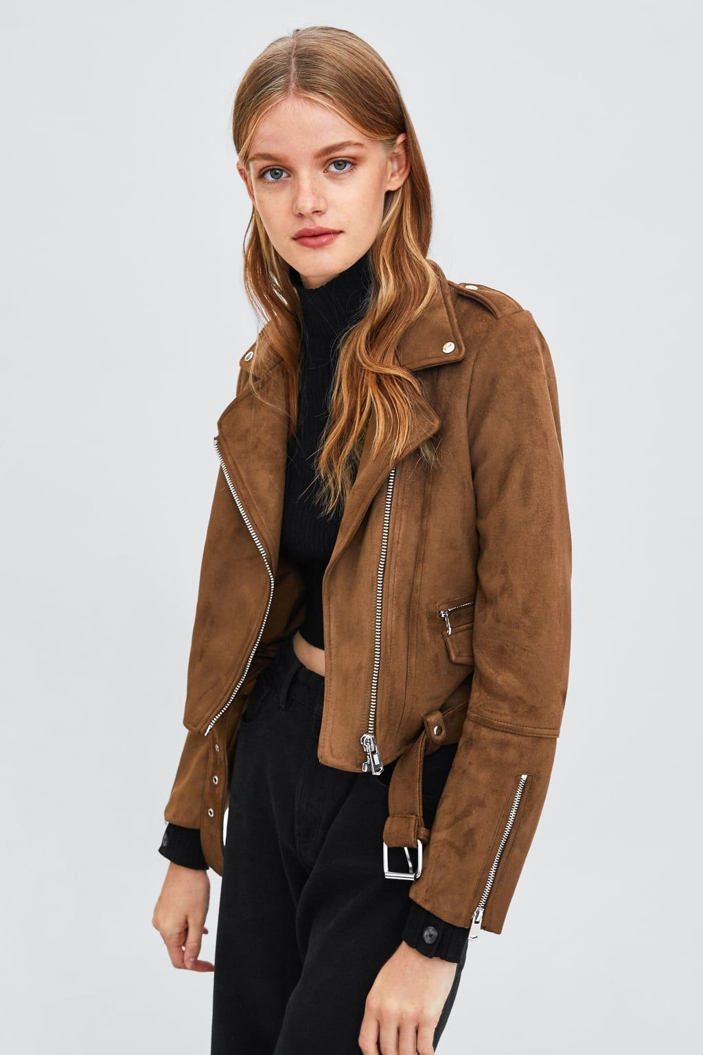 Image 2 of FAUX SUEDE BIKER JACKET from Zara Faux suede