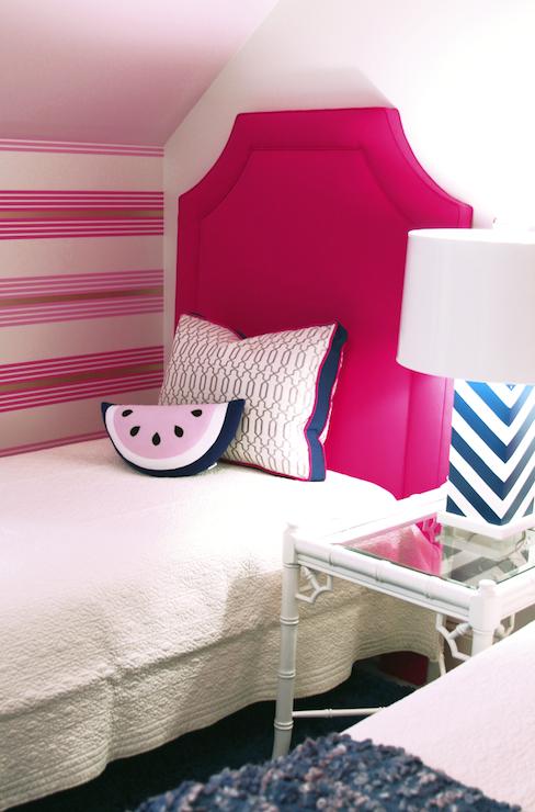 Hot Pink Clipped Corners Twin Headboard White Matelasse