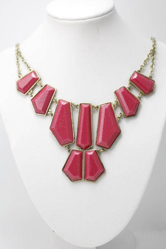 Pink Statement Necklace by ScarlettRosesJewelry on Etsy, $9.99