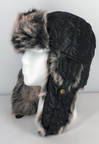 bf49d566c23 BD2 Capelli Quilted Black Women s Aviator Hat Faux Fur Lined Soft Warm Cap