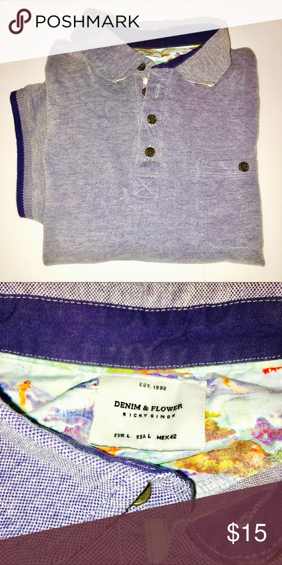82819d24cb Denim   Flower Ricky Singh Blue Polo Size L Denim   Flower Ricky Singh Blue  Polo with Pocket .. Mint Condition with No Rips or Stains Chest  24