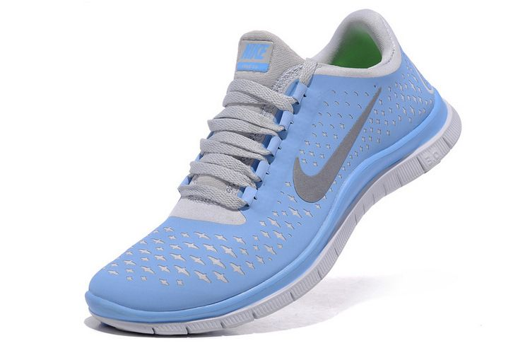 Nike Free Run Womens Prism Blue Reflective Silver sail Running Shoes