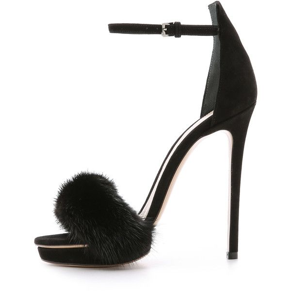 Monique Lhuillier Marlowe Fur Sandals ($900) ❤ liked on Polyvore featuring shoes, sandals, heels, vintage platform sandals, vintage heels shoes, vintage shoes, fur shoes and leather sole shoes