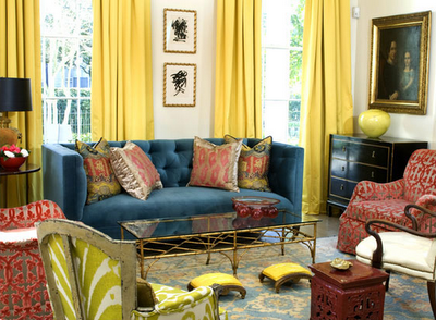 blue yellow coral living room! | Blue living room, Eclectic ...