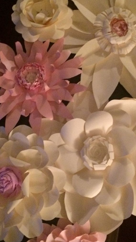 Giant Paper Flowers Set of 8 White and Creme by FantasyinFlorals