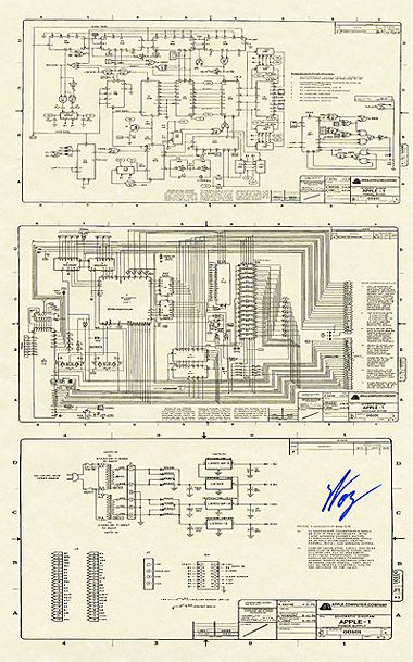 11 x 17 apple i schematic reproduction steve wozniak. Black Bedroom Furniture Sets. Home Design Ideas