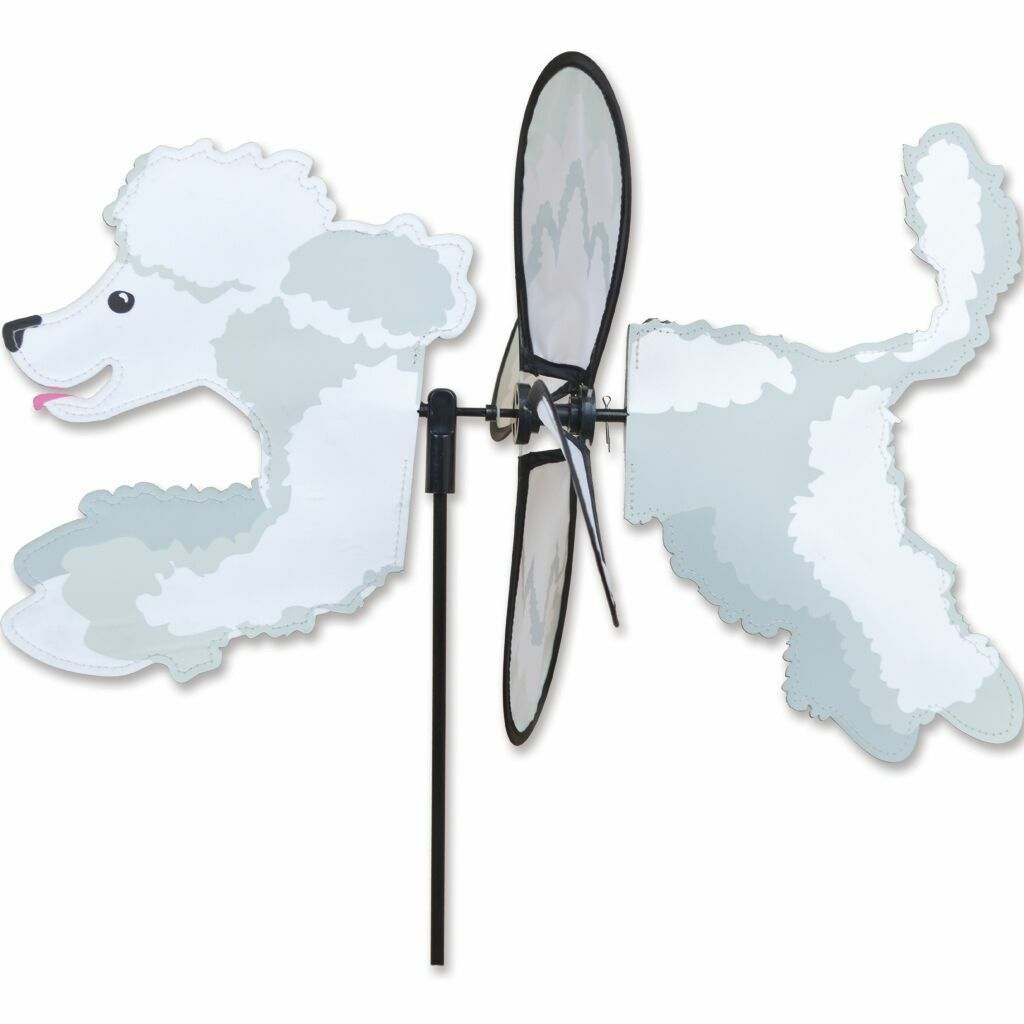Poodle Dog RED Metal Swirly Sphere Wind Spinner *NEW*