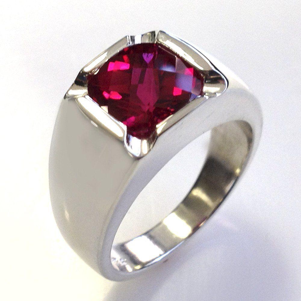 Mens Custom AntiqueStyle Cushion Cut Ruby Ring in Silver