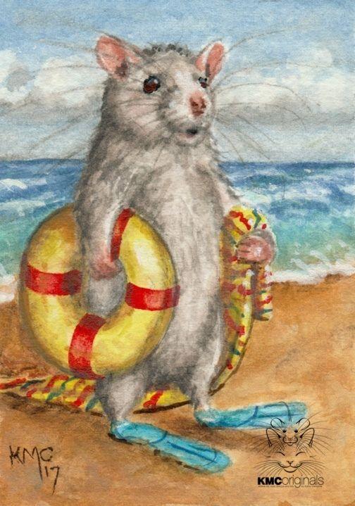Kmcoriginals Summer Special Rat Beach Tube Flippers Watercolor