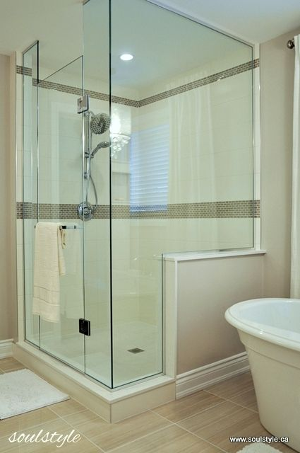 Shower Renovation elegant neutral bathroom renovation | subway tiles, mosaics and glass