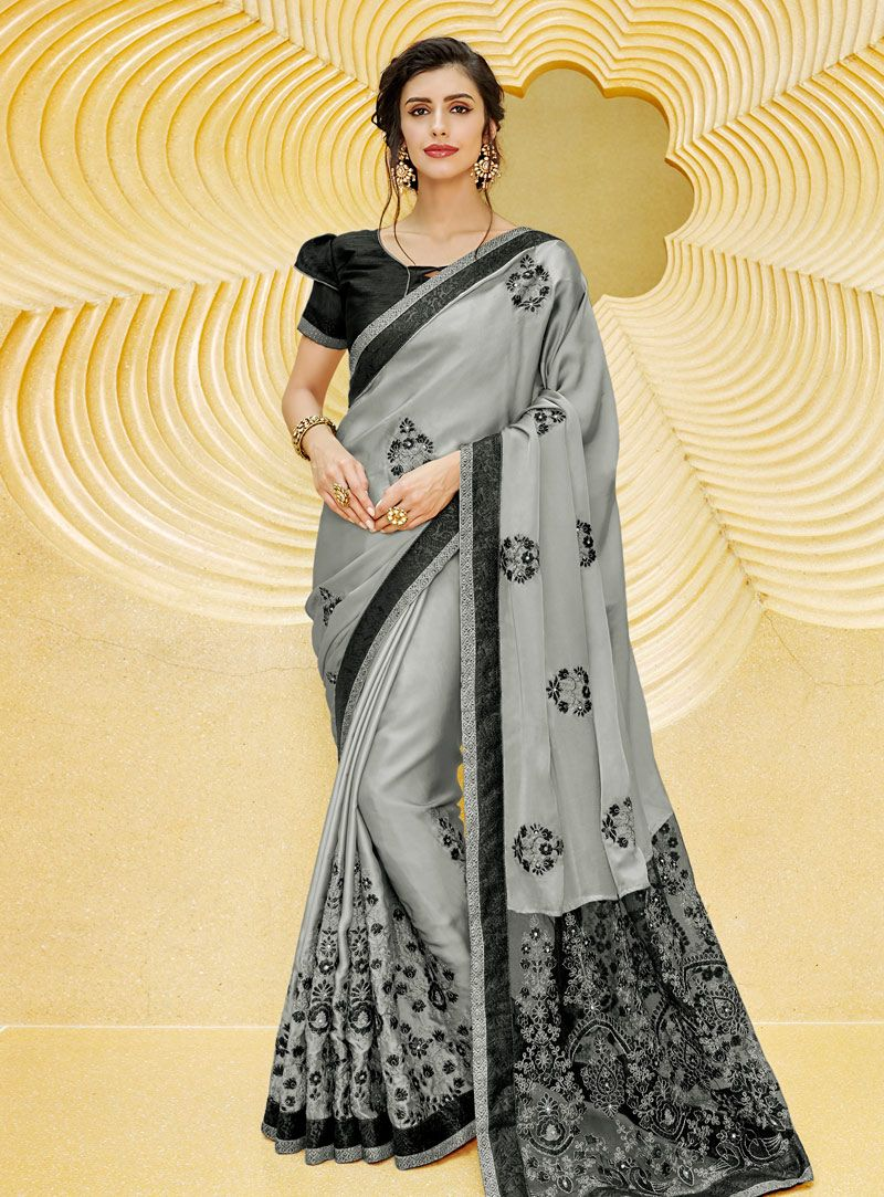 4395b49eaf Buy Gray Satin Saree With Blouse 146804 with blouse online at lowest price  from vast collection of sarees at Indianclothstore.com.