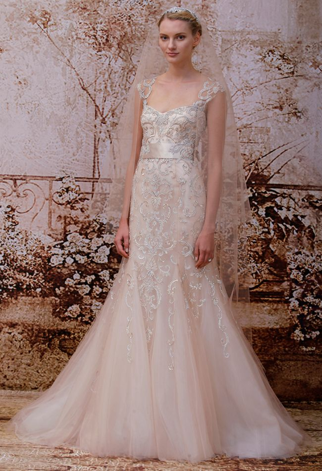 Monique Lhuillier Fall 2014 Wedding Dresses - The Knot Blog.  This looks like Downton Abby style to me.