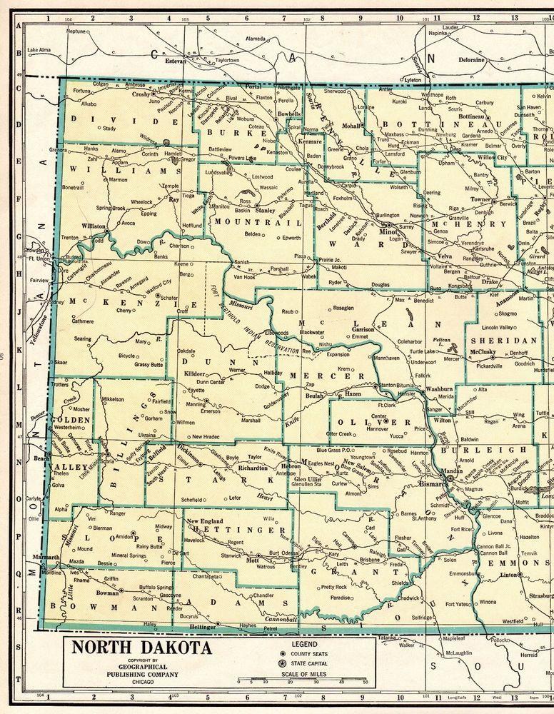 1946 Antique NORTH DAKOTA Map Rare Poster Print Size Map of ...
