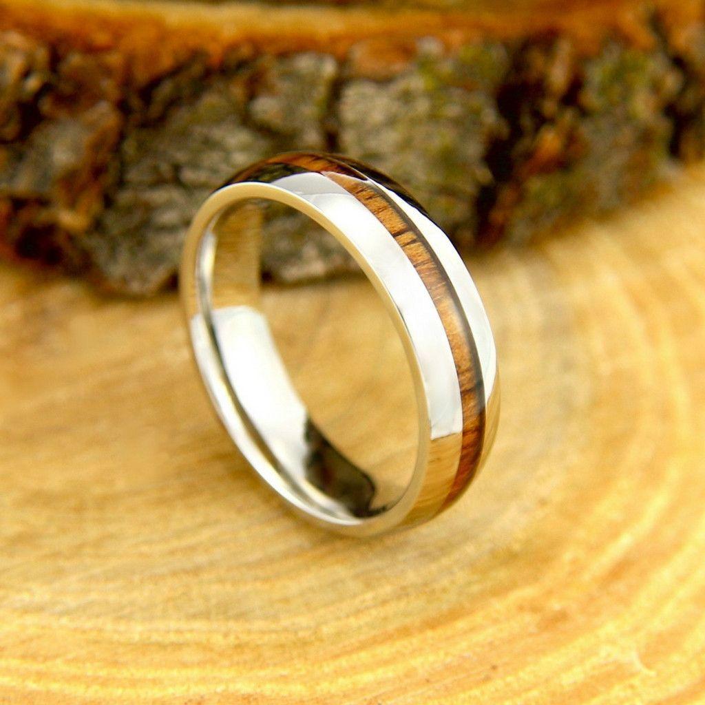 Rambler Titanium Core & Koa Wood Inlay Wooden wedding