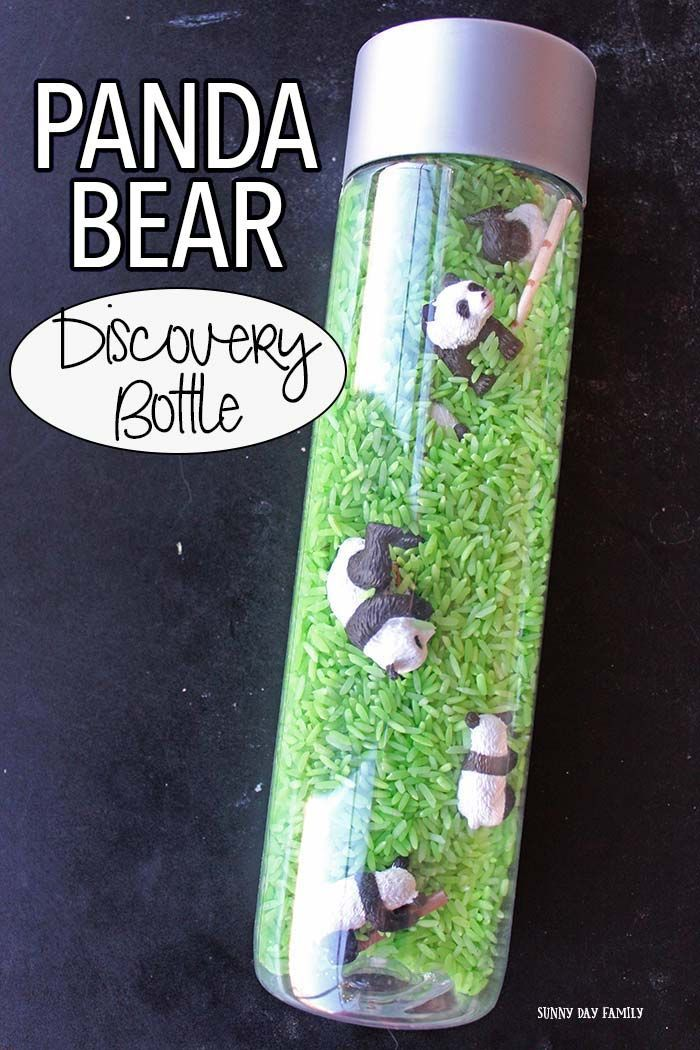 Panda Bear Discovery Bottle for Family Dinner Book Club #sensorybottles
