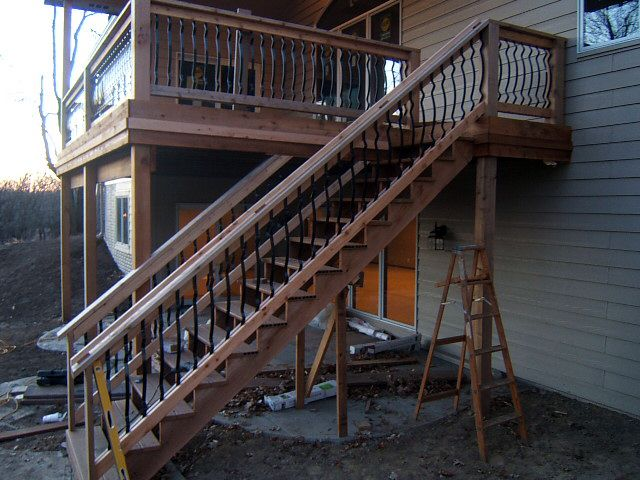 stair railing ideas with metal vertical inserts deck and