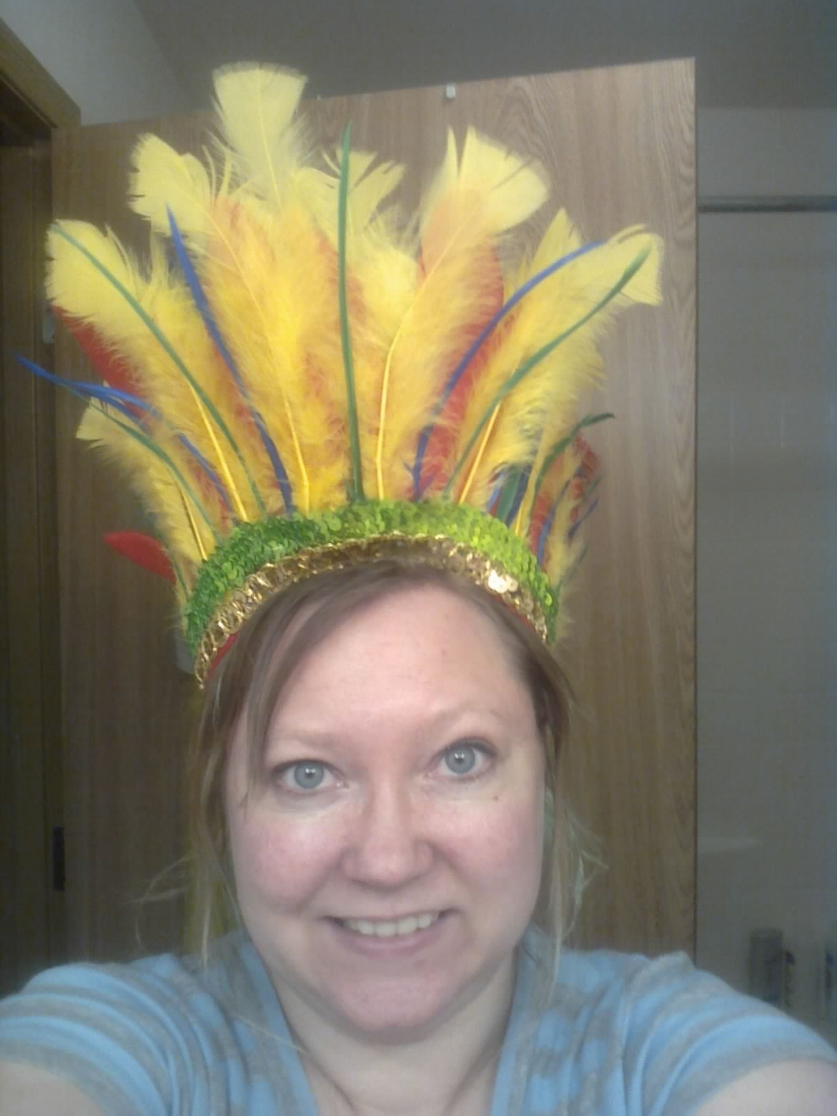 My head piece for Debbie's Tiki Carnival party