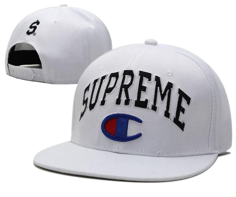 1c52346b Mens Champion x Supreme Both Large Logo Embroidery Dollar Sign Back  Baseball Snapback Hat - White