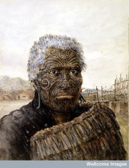 Te Kuha: A Carver And Warrior. Watercolour By H.G. Robley
