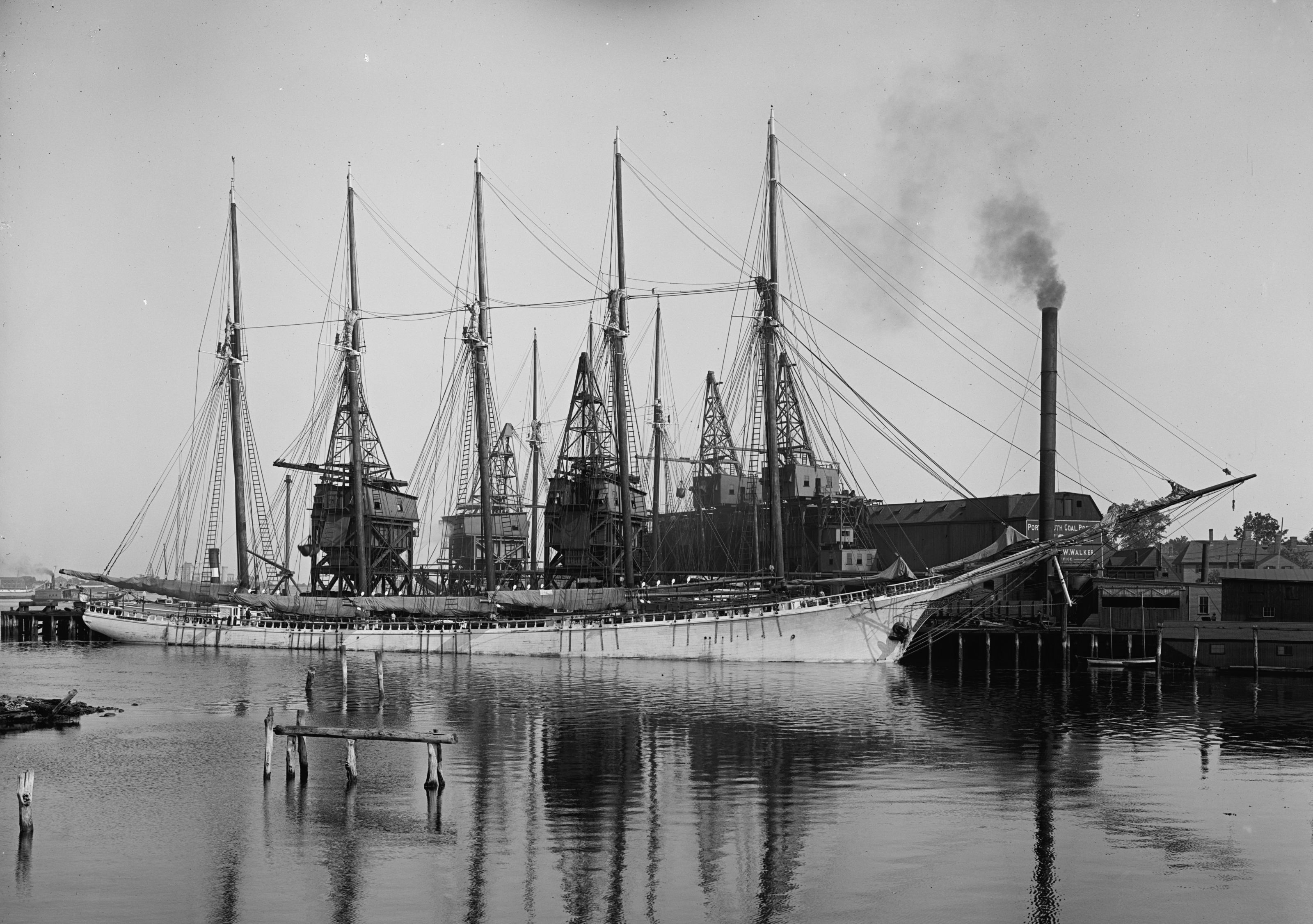 Changing times. Unloading coal from schooner Paul Palmer Portsmouth NH 1908 [3200x2254]