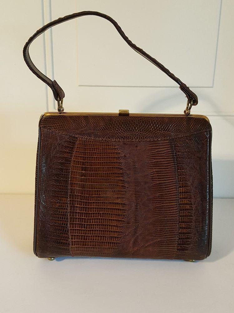 Vintage Sterling 1950 S Genuine Lizard Handbag Purse Brown Gently Used Everyday