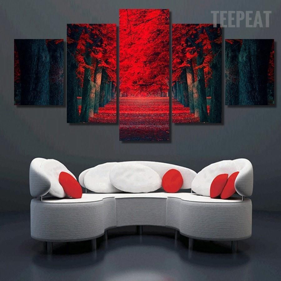 Beautiful Red Woods 5 Piece Canvas