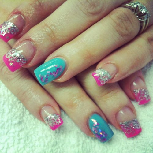 Pink Blue Acrylic Nail Designs - Pink Blue Acrylic Nail Designs Glitter Nails Pinterest Blue