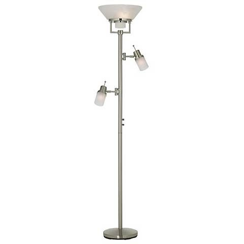 Brushed Nickel Two Swing Arm Torchiere Floor Lamp 05080 Lamps Plus Lamp Floor Lamp Torchiere Floor Lamp
