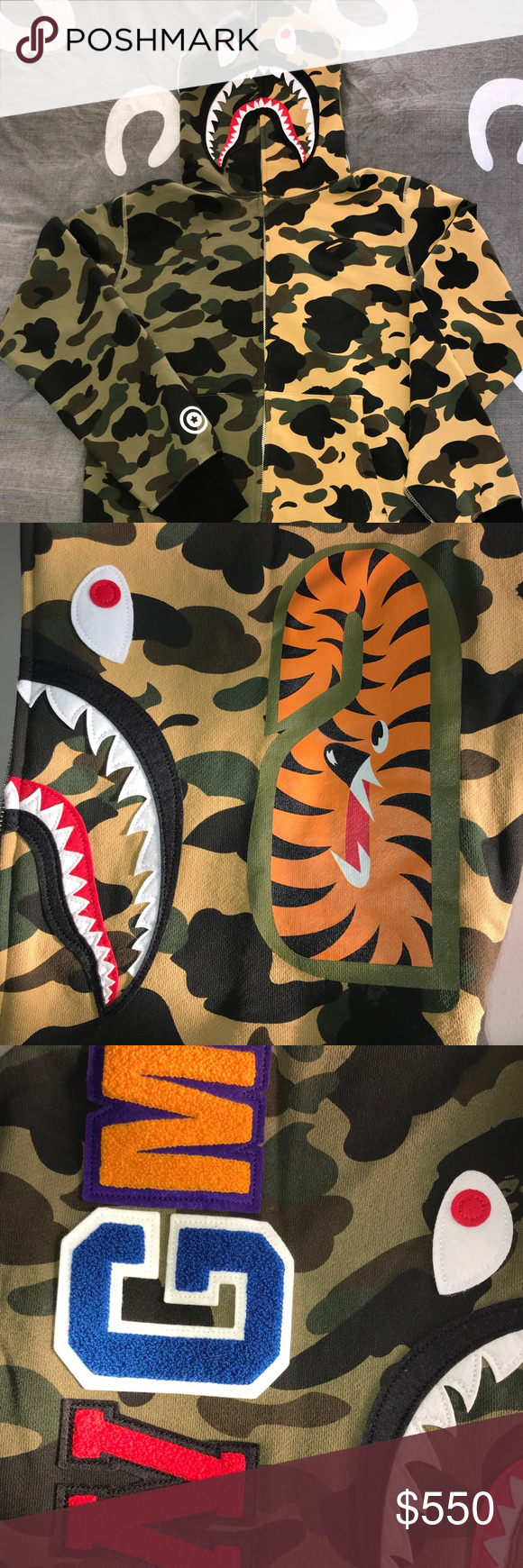213e123a Bape Half Green and Yellow 1st Camo Shark Hoodie 100% authentic. Welcome to  the legit check. Brand new with tags. Come with an original dust bag and  the ...
