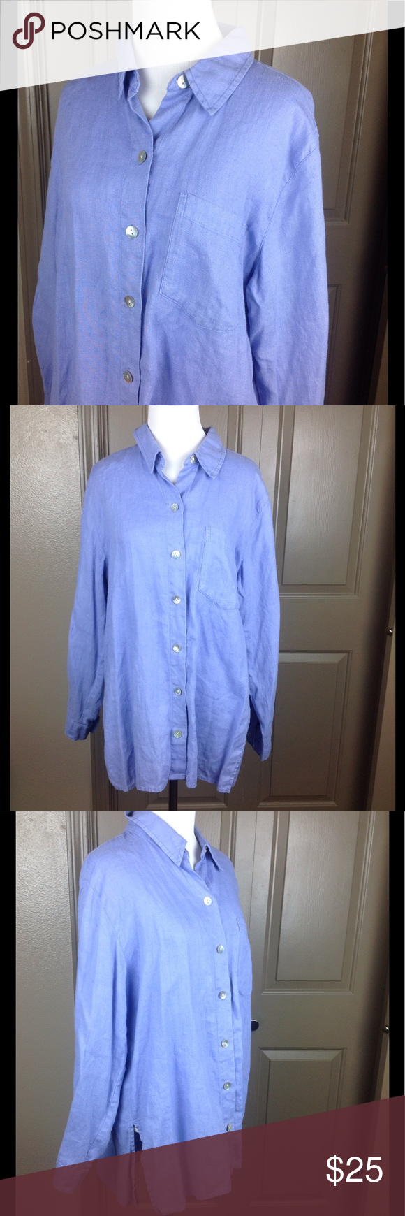 Chico's Tunic Top Button Down 1 Med Linen Lavender Great condition lavender purple 100% linen Button down with breast pocket & abalone buttons high/low 28 1/2 inch front length 30 1/2 in back 21 inches across bust Chico's Tops Blouses