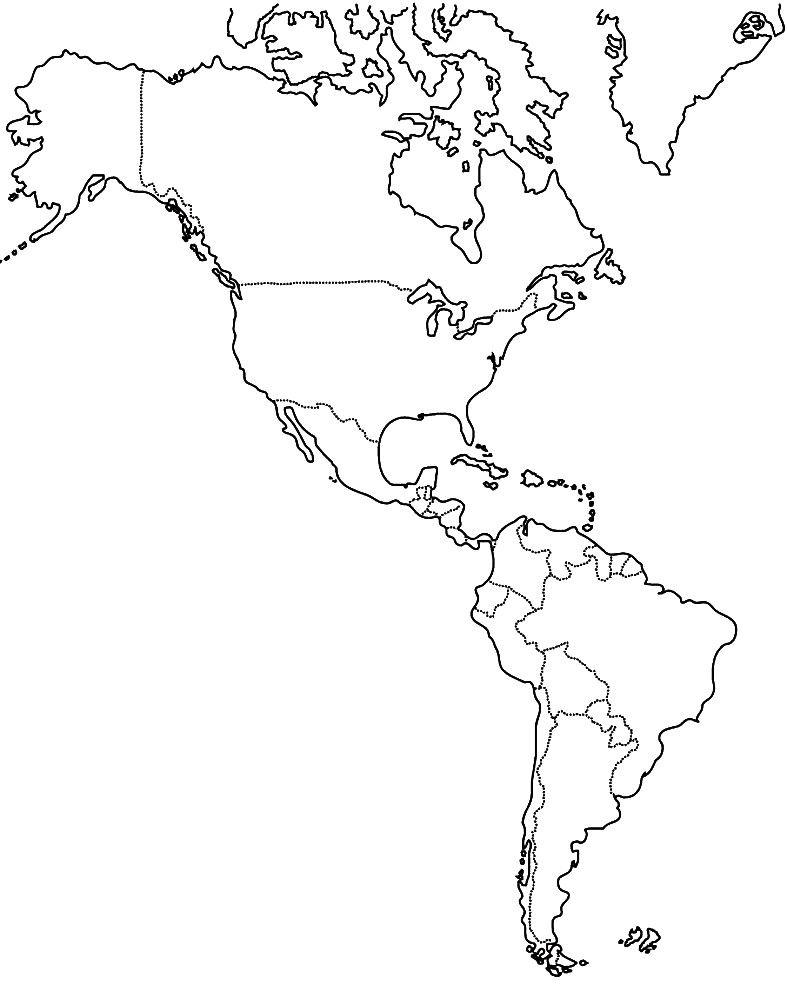 Mapa de América para imprimir | Sociales y afines | Pinterest | Mapa ...