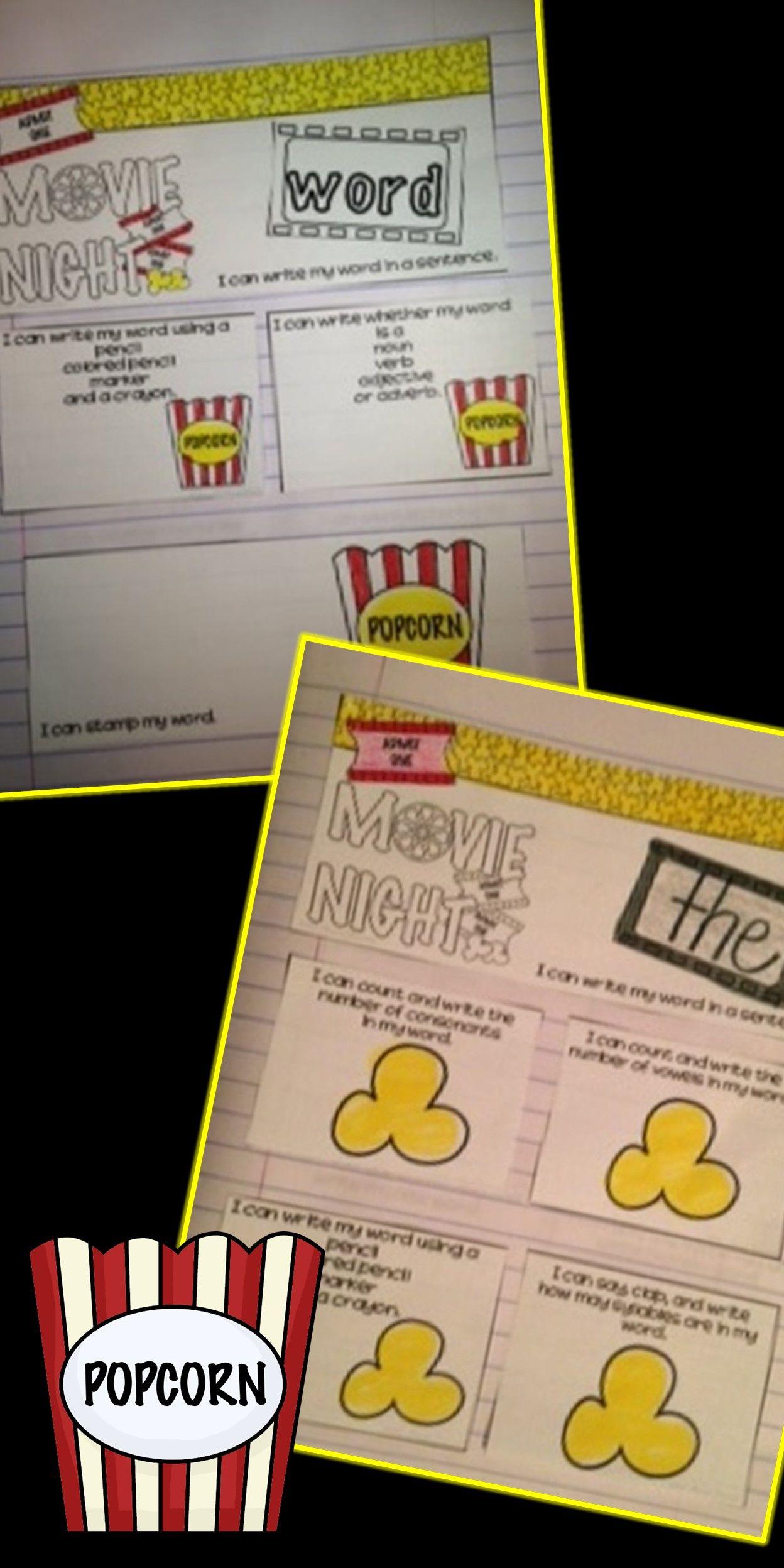 Editable Sight Word Practice Interactive Journal Movie Theme