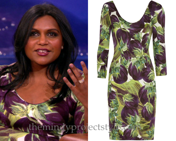 fc791e40 Flashback to when Mindy wore this super-healthy aubergine print dress on  Conan back in April! Dolce & Gabbana Eggplant Print Stretch Crepe Dress  (was $474) ...