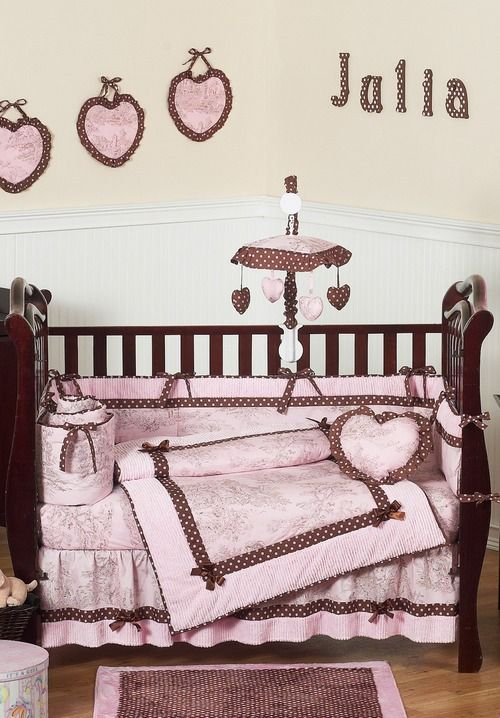 Pink And Brown French Toile Polka Dot Baby Bedding 9 Piece S Crib Set By Sweet Jojo Designs