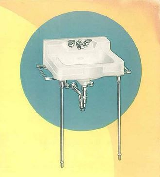 Image On Slant back faucet for a vintage bathroom sink where to find one