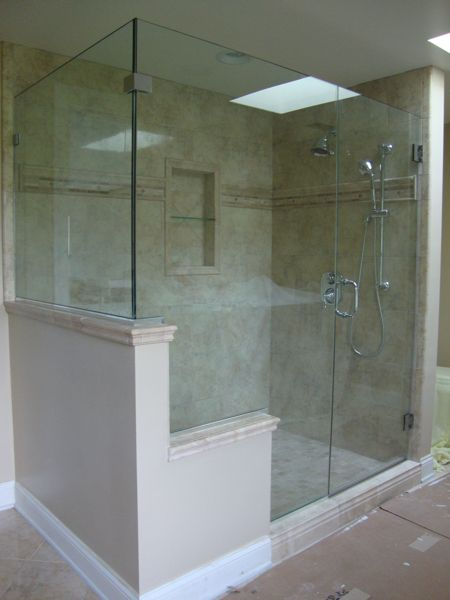 Shower half wall glass enclosure yahoo image search for Half wall shower glass